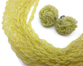 Yellow Multi Strand Necklace and Clip Earrings - Seed Beaded Costume Jewelry Set Demi Parure