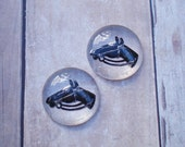 Vintage 18mm Clear & Dark Brown Horse Head Intaglio Flat Back Crystal Glass Cabs (2 pieces)