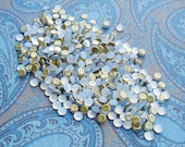 5mm Czech Preciosa White Opal Gold Foiled Flat Back Round Glass Cabs or Stones (24 pieces)