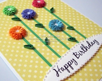 Paper Quilled, Handmade fringed flowers, happy birthday card