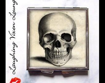 Skull Pill Box - Skull Compact Mirror - Skeleton Compact Mirror - Vintage Skull-A Compact - Skull Pill Case - Skeleton Pill Box