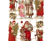 Made In Germany Paper Lithographed Die Cut Scraps Victorian Christmas Santa Claus  7417