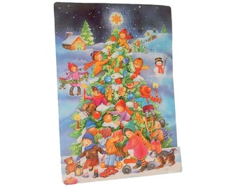 Large Advent Calendar Spain Childrens Christmas Tree With Dresden Stars