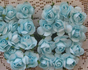 24 Small Paper Roses Light Turquoise For Millinery And Crafts