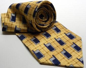 "Vintage 1980s ALEXANDER JULIAN Colours Silk Tie 56"" Length Abstract Geometric PLAID Gold Blue Gray 066"