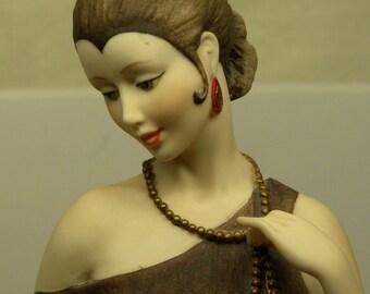 Holiday Sale! Giuseppe Armani Florence DANIELLE Art Deco Flapper FIGURINE with Siamese Cat No. 0436C Mint