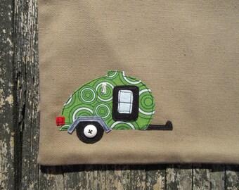 Green circle applique travel trailer duck canvas accessory bag teardrop camper tear drop cotton zipper pouch rv glamping glamper camping