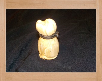 Bone Carving Dog Trinket Box Miniature  Hand Carved Dog with Lid and Brass Hinge