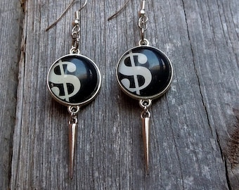 Dollar Sign with Silver Spike Earrings