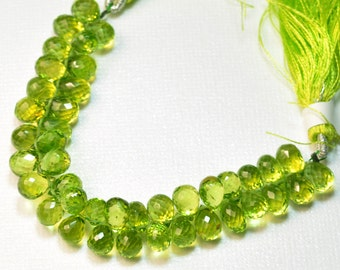 "Peridot Faceted Teardrop Briolettes Beads 4.5"" strand"