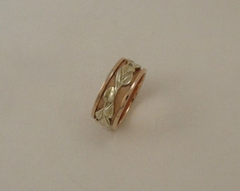 Ivy leaf ring in 14k rose & yellow gold
