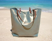 Metallic Linen Tote Bag, Beach Bag, Cool Tote Bag, Linen and Leather Tote for Women, Unique Tote Bag, Handbag