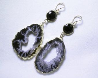 Reserved for Pam Black Ocho Geode Black Onyx Earrings Geode Earrings Druzy Gold Raw Stone Earrings Oco Crystal AS-E-106-Ocho-Blk-006g