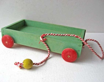 Vintage 1950's Wooden Toy Wagon in Old Jade Green Paint w Red Wheels, Collectible Toy, Country Decor