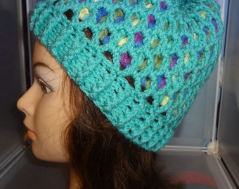 Mosaic Colors Hat, Crochet Hat, Beanie, Winter Hat, Teen, Adult, Ready to Ship