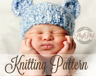 KNITTING PATTERN - Baby Bear Hat - PDF