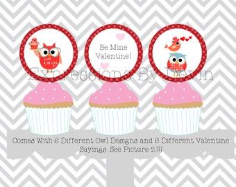Instant Download DIY Printable Owl Valentine theme  2 inch Cupcake topper 12 different designs DIGITAL PDF