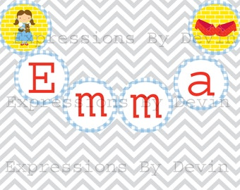 DIY Printable Off To See The Wizard Personalized Name Banner 4 inch circle DIGITAL PDF Banner