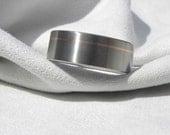 Titanium Ring with Offset Rose Gold Pinstripe Inlay Satin Finish
