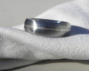 Ring or Wedding Band Titanium with Sterling Silver Stripe Inlay