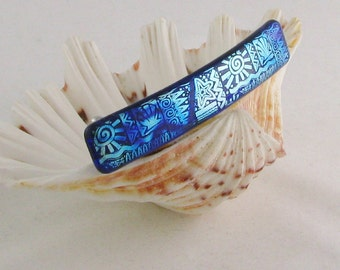 Dichroic glass barrette - Royal Blue and Silver Blues - - fused glass jewelry - Genuine French barrette (3877) 4""