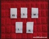 500 pcs White Woven Clothing Labels, Size Tags - XS S M L XL- 100 pcs Damask