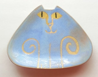 Ceramic Cat plate triangle shape Pottery dish handmade clay rustic moody blue yellow eyes