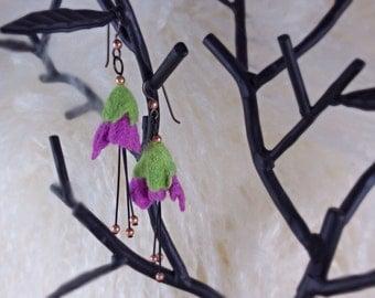 Fuschia Pink Felted Flower Earrings
