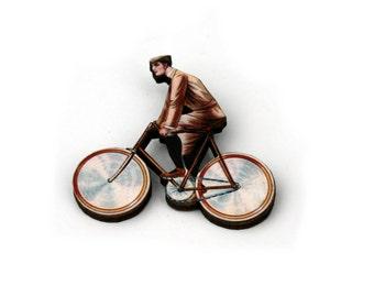 Bicycle Brooch, Wooden Bike Brooch, Vintage Bike Illustration, Wood Jewelry