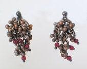Balled Earrings with Garnet Cluster
