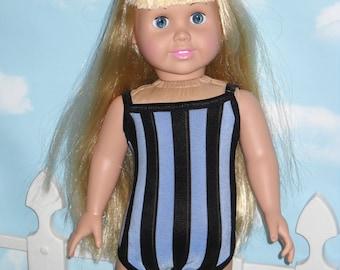 18 inch Doll Swim Suit  Handmade Blue and Black Stripe