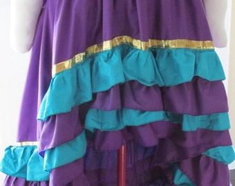 DDNJ Choose Colors Hi Lo Triple Ruffled Skirt Renaissance Pirate Gypsy Steampunk Burlesque Cosplay LARP Anime Plus Custom Made ANY Size