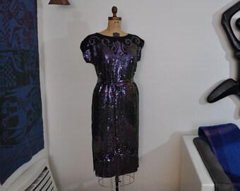 1980's dress / Vintage 80s does 20's Purple Sequin Deco Dress