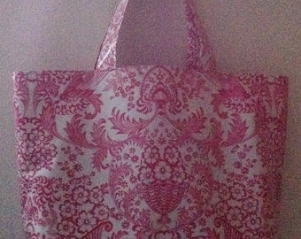 Beth's Big Pink Paradise Oilcloth Market Tote Bag