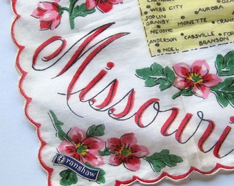 SALE / Vintage Missouri State Souvenir Handkerchief Illustrated Map Scalloped Edge With Tags / Franshaw