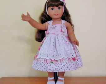 18 inch doll apron knott dress, pink roses, eyelet apron, fits American girl dolls, matching headband, ready to ship,