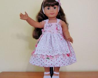 18 inch doll apron knott dress, pink roses, eyelet apron, fits American girl dolls, matching headband, ready to ship,