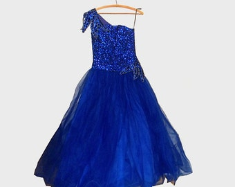 1950s dress / 50s dress / size s / Belle of the Ball Blue Sequin Gown - NWT Deadstock