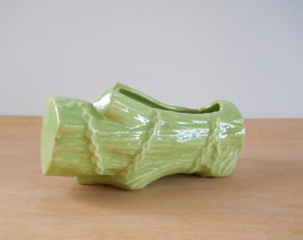 Mid Century Vintage McCoy Planter • Chartreuse Log Planter USA