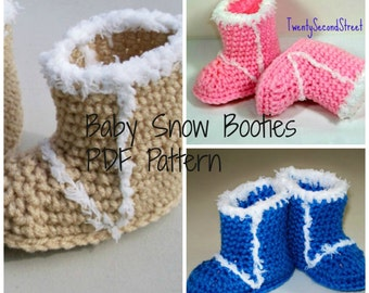PDF PATTERN for Crochet Baby Snow Booties
