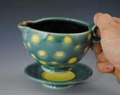Hand Thrown Pottery,  Green Spouted Bowl, and Saucer With Yellow Spots