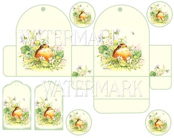 Box Template Birthday Party Gift Instant Digital Download Printable Baby Bird Violets Tags Scrapbooking