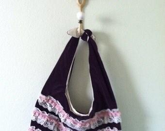 Velvet Hobo Bag~ Small Hobo Bag~Purple Velvet Hobo