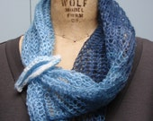Knit Lightweight Mohair Pull-Over Cowl Variegated Blue