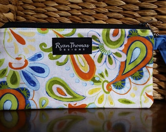 Blue Green Orange White Yellow Flower Paisley Fabric Wristlet Zipper Pouch Clutch