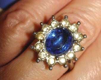vintage faux diamonds and sapphire floral silver cocktail ring
