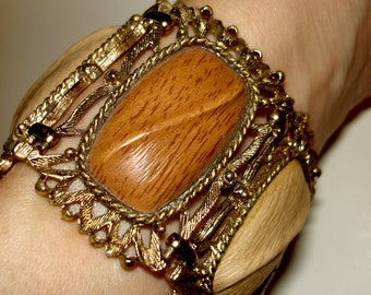chunky vintage two tone faux wood grain wide gold metal bracelet
