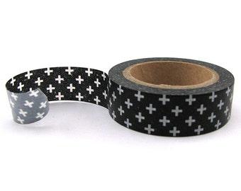 Black and White Cross Washi Tape - 15mm x 10m - Black Washi Tape Roll - Black Masking Tape - Black Paper Tape - Washi Tape Black