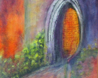 "Painting Art Original Acrylic Painting ""Enter the Gate"" in colors of metallic gold,reds, purple, green, grays"