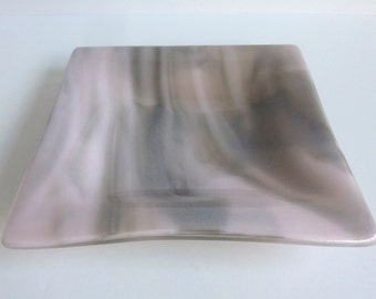 Fused Glass Dish in Streaky Pink and Gray